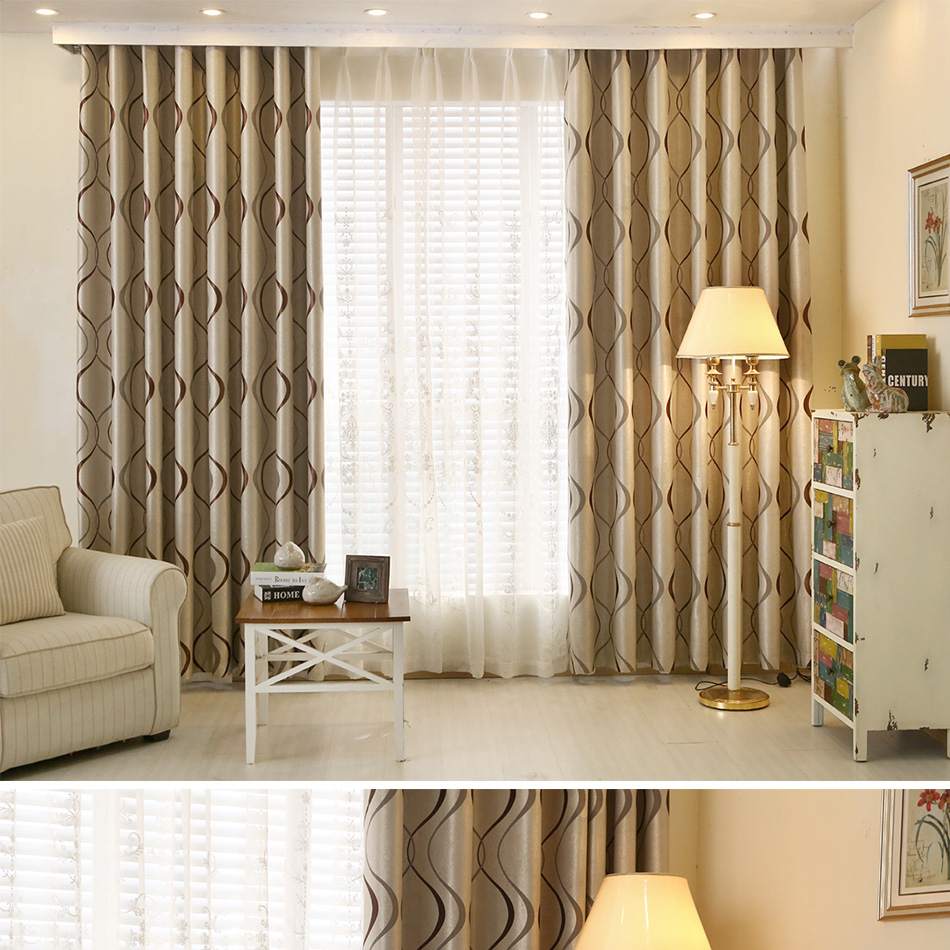 Luxury Wavy Striped Decorative Curtains