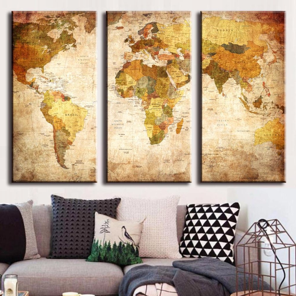 vintage world map 3 panel canvas oil painting print on canvas home decor