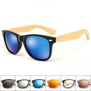 Outdoor Goggles Wooden Bamboo Sunglasses Men Women Mirrored UV400 Wood Glasses Shades Gold Blue Sunglases Male lunette soleil 1