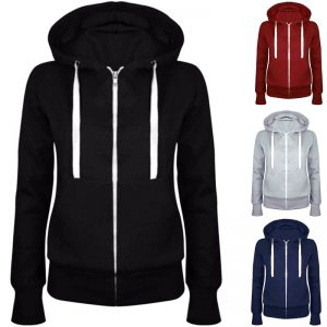 Hoodies Sweatshirt Fashion Women/ Men Solid Zip Up Long Sleeve