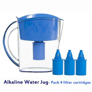Alkaline Water Jug - Pack 4 Replacement Filter Cartridges -3.5 Liter Alkaline Ionizer Blue Water Filter Pitcher Filtro de agua