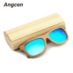 Angcen 2017 New fashion Products Men Women Glass Bamboo Sunglasses au Retro Vintage Wood Lens Wooden Frame Handmade ZA03 1