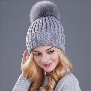 Winter Hat Fur Pom Pom