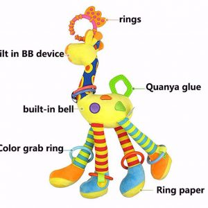Plush Infant Baby Rattles Development Soft Giraffe Animal Handbells Handle Toys Hot Selling With Teether Baby Toys 1