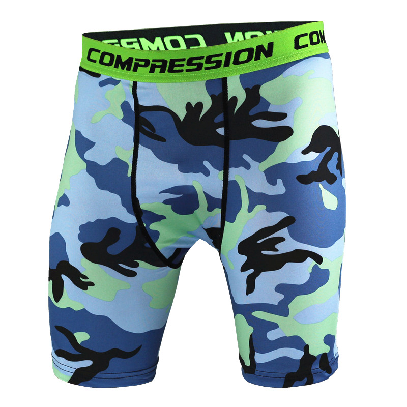 2017 Men Compression Shorts Tights High Elasticity Print Shorts Casual Fitness Camouflage Mens Short Homme Brand Clothing MMA 2