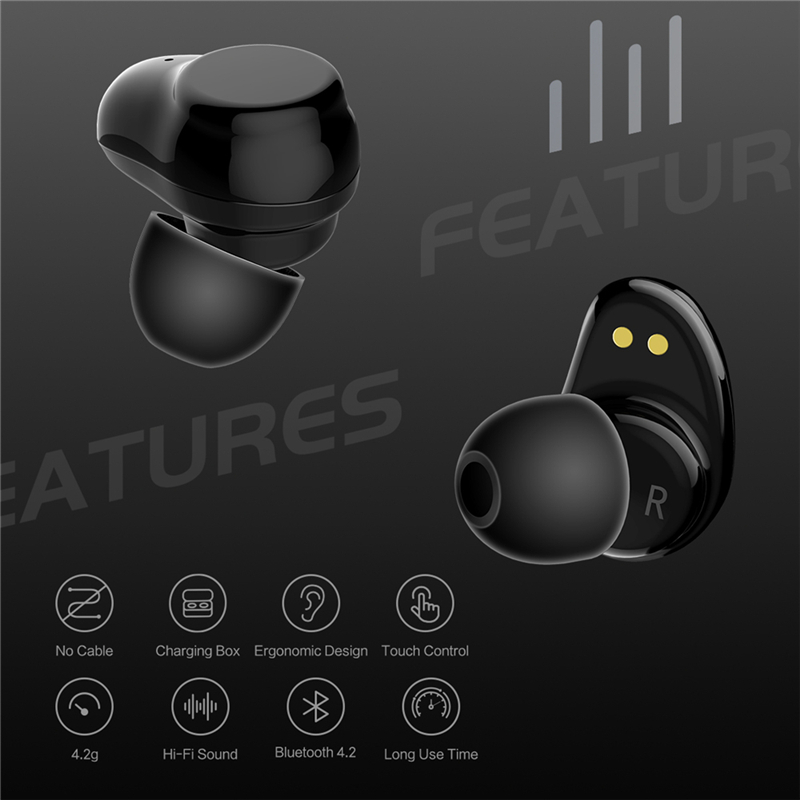 ROCKSPACE TWS Bluetooth Earphone Earbuds Touch Control Hifi Stereo Wireless Microphone for Phone With Charger Charging Box Mini 2