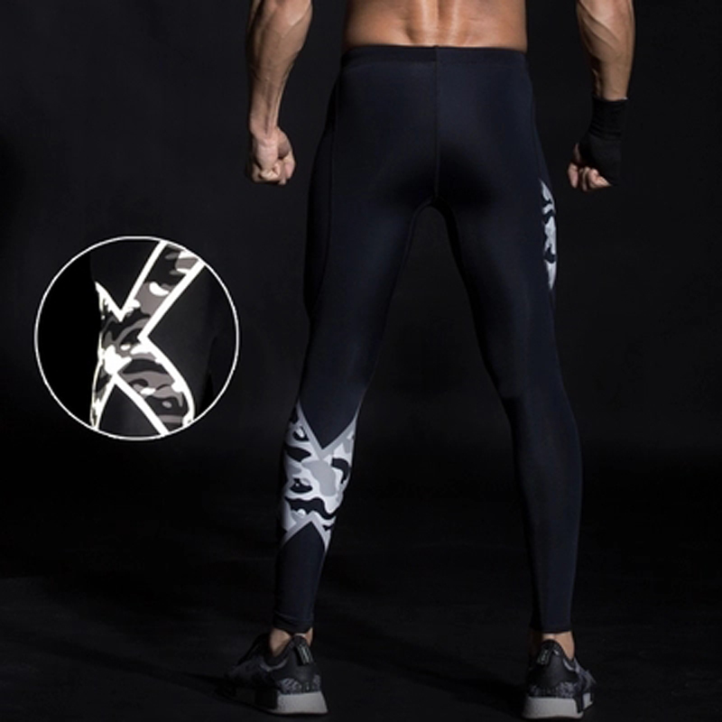 Mens Gym Compression Pants 2017 New Crossfit Running Tights Men Bodybuilding Sport Training Pants Trousers Camouflage Joggers 2