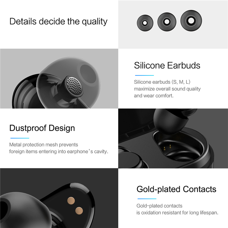 ROCKSPACE TWS Bluetooth Earphone Earbuds Touch Control Hifi Stereo Wireless Microphone for Phone With Charger Charging Box Mini 5