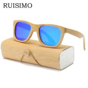 Wood Sunglasses Men women square bamboo Women for men women Mirror Sun Glasses retro de sol masculino 2017 Handmade with case 1