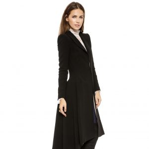 Women Coats Autumn winter swallowtail Black long Trench Dovetail Plus Size 5XL 6XL Female Wool Coat jackets Outwear 1