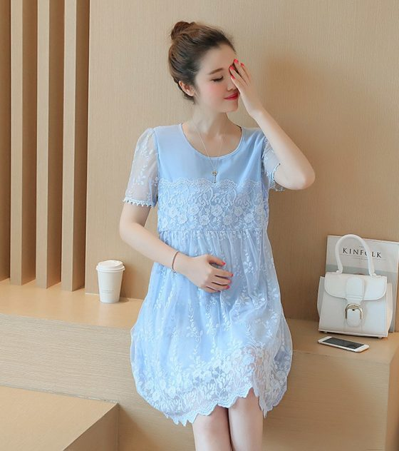 36c5189fdddb Maternity Clothes 2018 Spring Summer Maternity Short Lace Patchwork Plus  Size Loose Dress Pregnancy Clothes for Pregnant Women