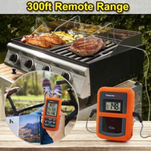 Original ThermoPro TP-20 Remote Wireless Digital BBQ, Oven Thermometer Home Use Stainless Steel Probe Large Screen with Timer 1