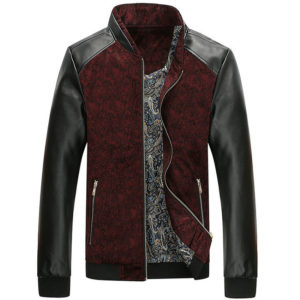 Mountainskin PU Leather Patchwork Men's Jackets 4XL Autumn Fashion Coats Men Outerwear Stand Collar Male Clothing Slim Fit SA332 1