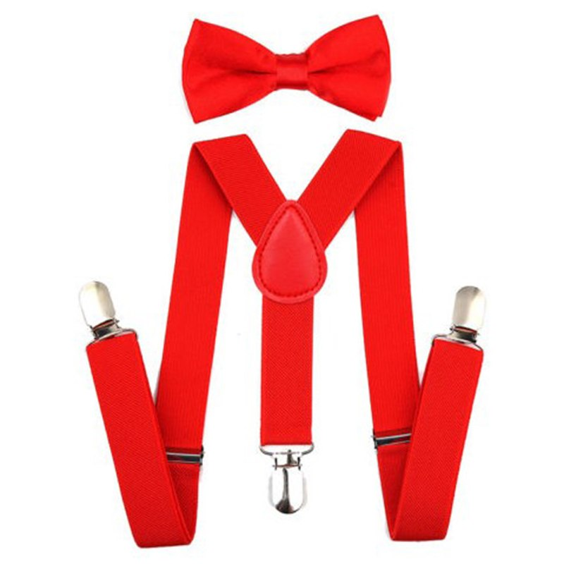Adjustable Elastic Kids Suspenders With Bowtie Bow Tie Set Matching Ties Outfits Suspender For Girl Boy 7 Colors BBYES 1