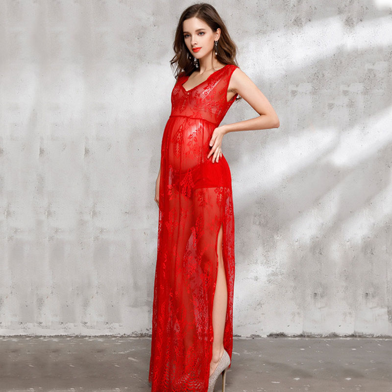 Sexy sheer pregnant women summer dresses red lace maternity dress for photo shooting maternity photography props 3