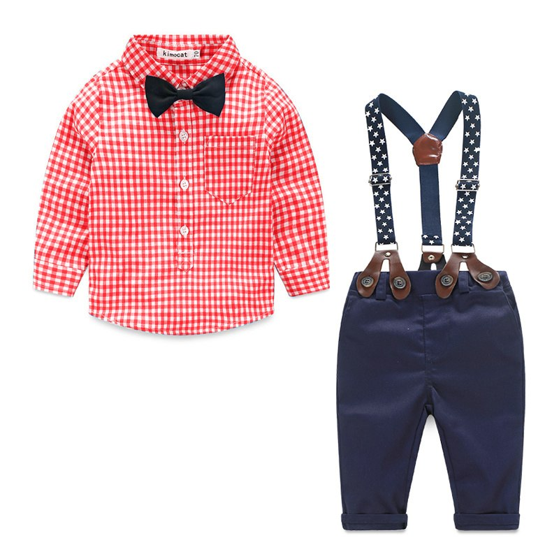 Baby Boy Clothes 2016 Spring New Brand Gentleman Plaid Clothing Suit For Newborn Baby Bow Tie Shirt + Suspender Trousers 1