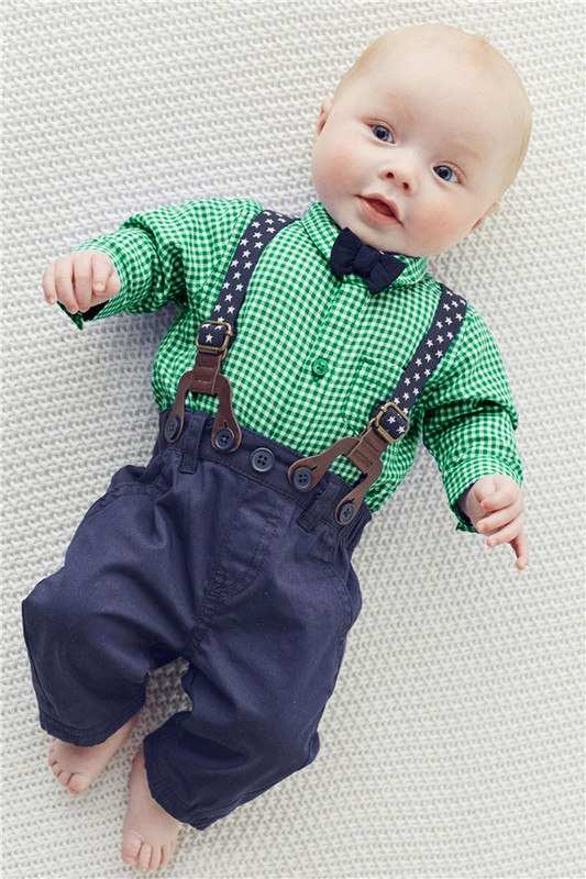 Baby Boy Clothes 2016 Spring New Brand Gentleman Plaid Clothing Suit For Newborn Baby Bow Tie Shirt + Suspender Trousers 4