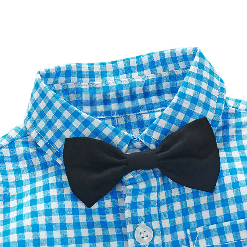 NWAD Baby Boy Clothes Long Sleeve Newborn Baby Sets Infant Clothing Gentleman Suit Plaid Shirt+Bow Tie+Suspender Trousers FF032 4