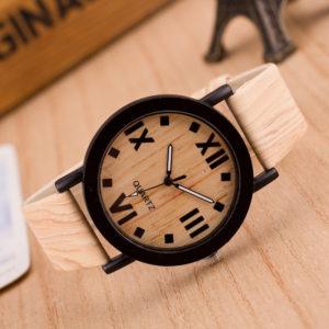Wooden Quartz Men Watches Casual Wooden Color Leather Strap Watch Wood Male Wristwatch Relojes Relogio Masculino Drop Ship 1
