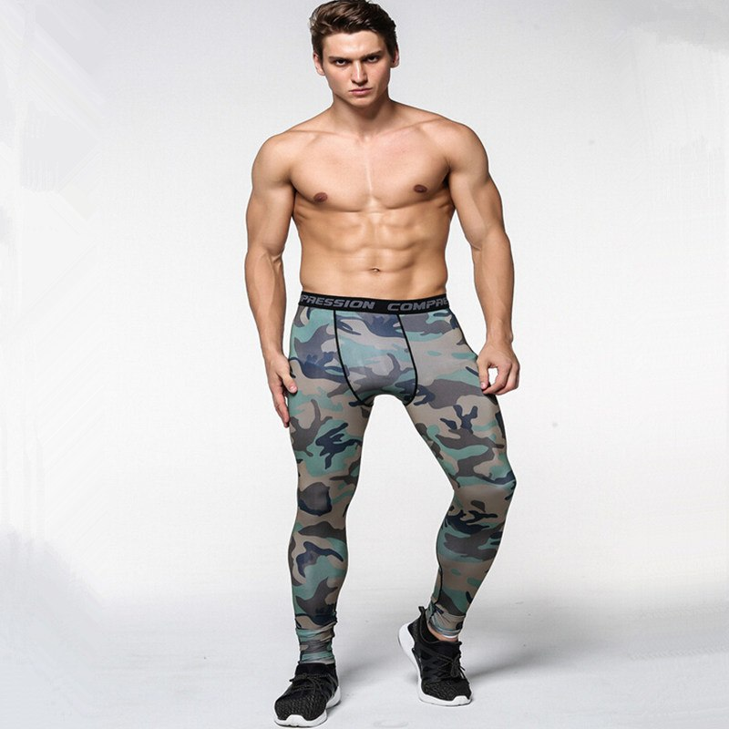 2017 New men camouflage/compression tights/Leggings Running sports/Gym male trousers/capris of fitness/pants of quick-drying 3