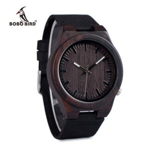BOBO BIRD WB12 Men's Asymmetric Design Ebony Wooden Watches with Soft Leather Band with Gift Box as Gift Dropshipping Accept OEM 1
