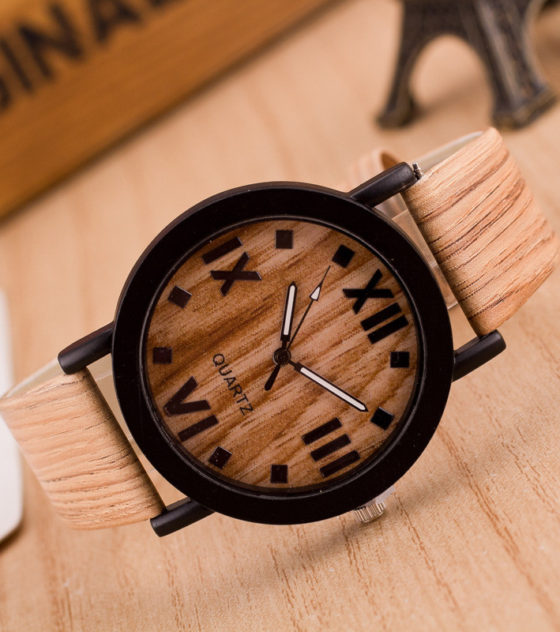 Wooden Quartz Men Watches Casual Wooden Color Leather Strap Watch Wood Male Wristwatch Relojes Relogio Masculino Drop Ship 5