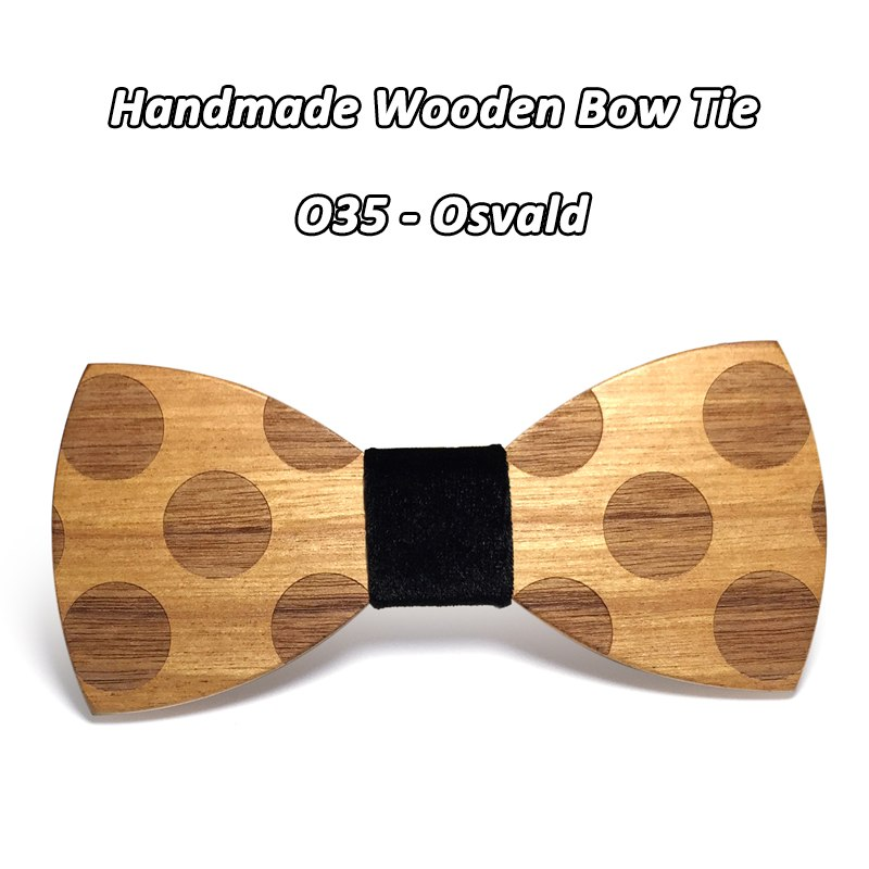 Mahoosive Novelty Solid Dot Wood Bow Tie For Men Classic Wooden Bowties Neckwear Creative Handmade Butterfly Wood Tie Gravata 5