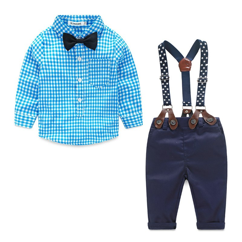 Baby Boy Clothes 2016 Spring New Brand Gentleman Plaid Clothing Suit For Newborn Baby Bow Tie Shirt + Suspender Trousers 5