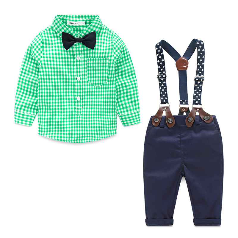 Baby Boy Clothes 2016 Spring New Brand Gentleman Plaid Clothing Suit For Newborn Baby Bow Tie Shirt + Suspender Trousers 2