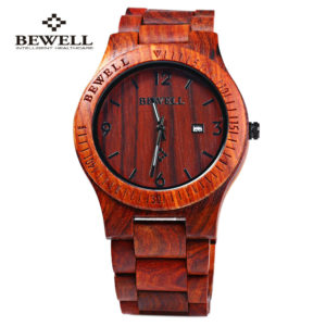 Bewell ZS-W086B Luxury Brand Wood Watch Men Analog Quartz Movement Date Waterproof Wooden Watches Male Wristwatches relogio 1