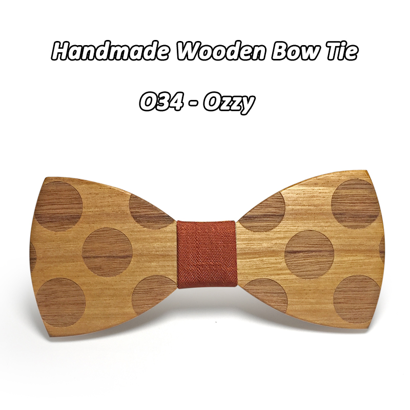 Mahoosive Novelty Solid Dot Wood Bow Tie For Men Classic Wooden Bowties Neckwear Creative Handmade Butterfly Wood Tie Gravata 4