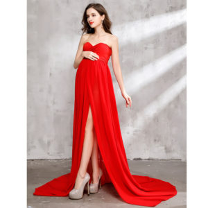 Maternity Dress for Photo Shoot Maxi Maternity Gown Split Front Chiffon Fancy Sexy Red Women Maternity Photography Props Envsoll 1