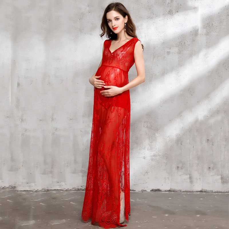 Sexy sheer pregnant women summer dresses red lace maternity dress for photo shooting maternity photography props 1