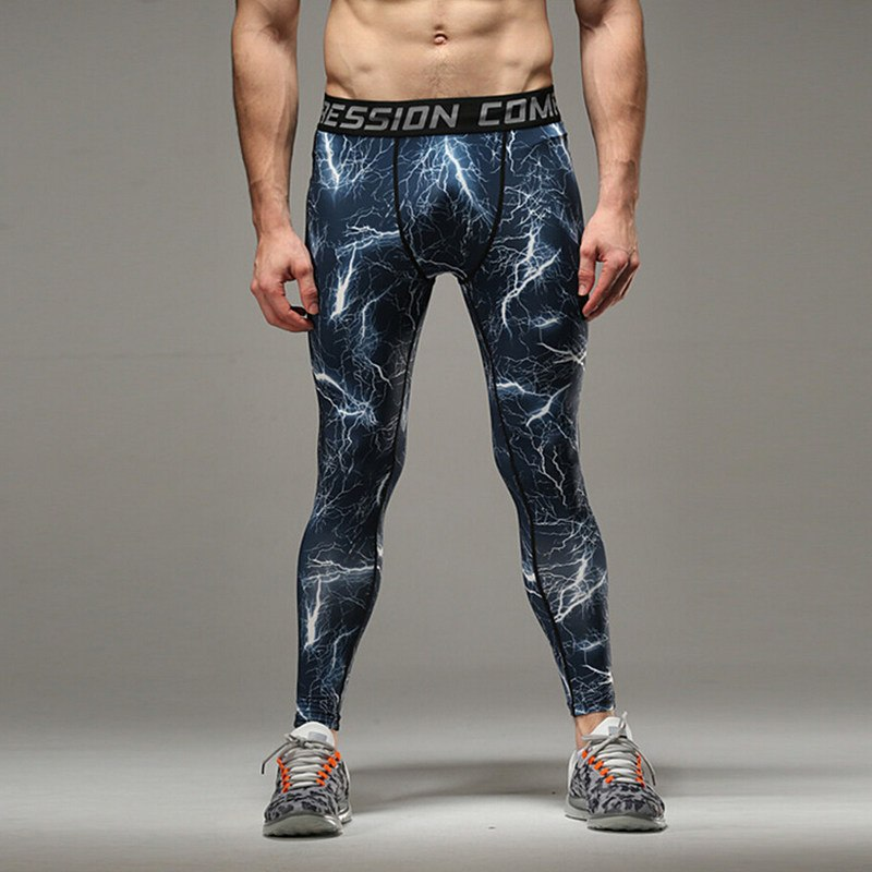 2017 New men camouflage/compression tights/Leggings Running sports/Gym male trousers/capris of fitness/pants of quick-drying 5