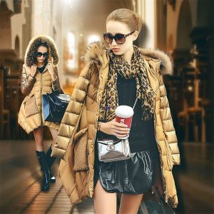Women's 2018 winter luxury gold Raccoon fur collar medium-long down jacket coat slim women parka coat 1