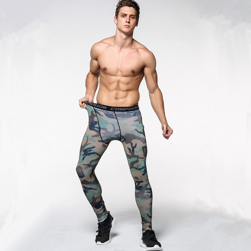 2017 New men camouflage/compression tights/Leggings Running sports/Gym male trousers/capris of fitness/pants of quick-drying 4