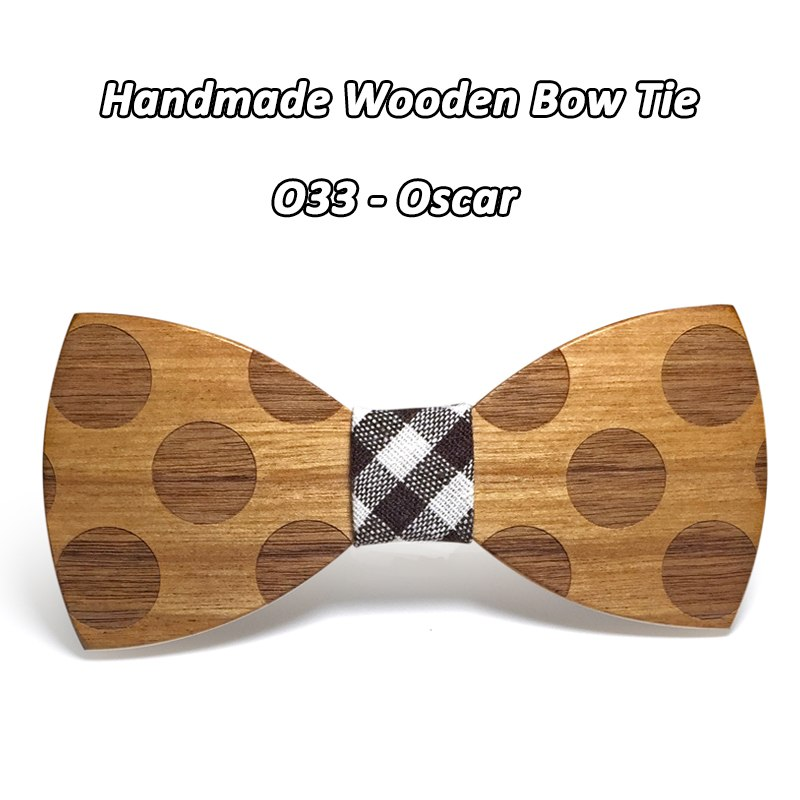 Mahoosive Novelty Solid Dot Wood Bow Tie For Men Classic Wooden Bowties Neckwear Creative Handmade Butterfly Wood Tie Gravata 3