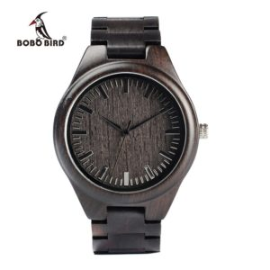 BOBO BIRD WH05 Brand Design Classic Ebony Wooden Mens Watch Full Wood Strap Quartz Watches Lightweight Gift for Men Carton Box 1