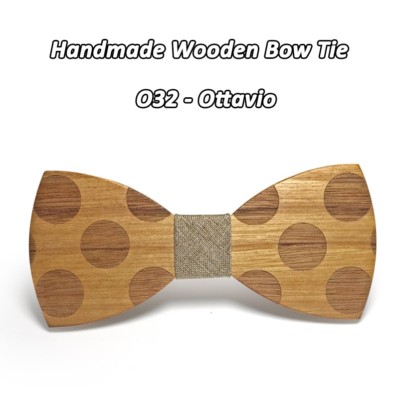 Mahoosive Novelty Solid Dot Wood Bow Tie For Men Classic Wooden Bowties Neckwear Creative Handmade Butterfly Wood Tie Gravata 2