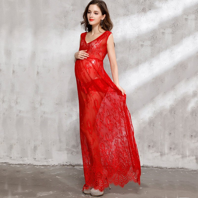 Sexy sheer pregnant women summer dresses red lace maternity dress for photo shooting maternity photography props 2