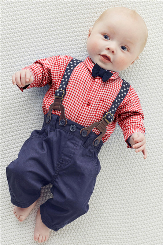 Baby Boy Clothes 2016 Spring New Brand Gentleman Plaid Clothing Suit For Newborn Baby Bow Tie Shirt + Suspender Trousers 3