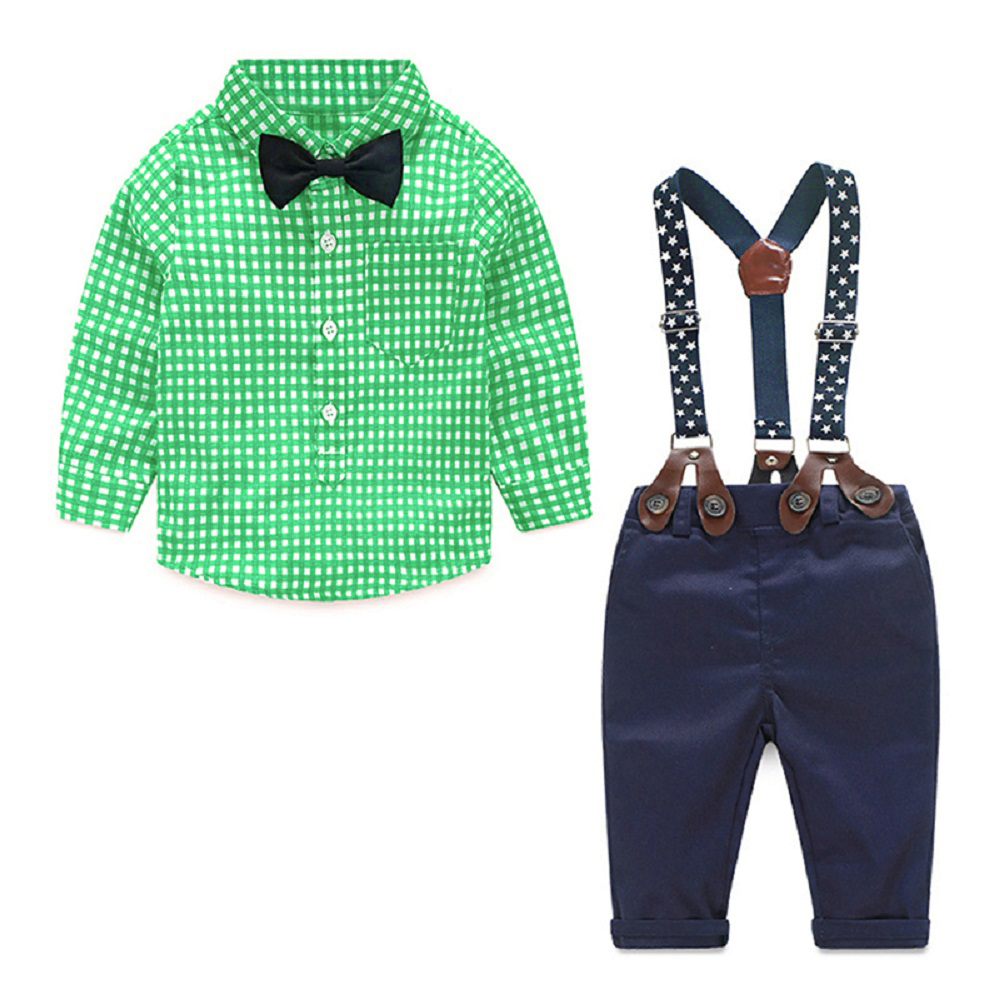 NWAD Baby Boy Clothes Long Sleeve Newborn Baby Sets Infant Clothing Gentleman Suit Plaid Shirt+Bow Tie+Suspender Trousers FF032 1