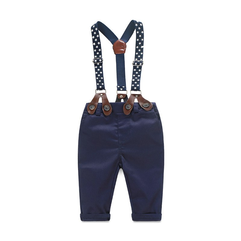 NWAD Baby Boy Clothes Long Sleeve Newborn Baby Sets Infant Clothing Gentleman Suit Plaid Shirt+Bow Tie+Suspender Trousers FF032 5