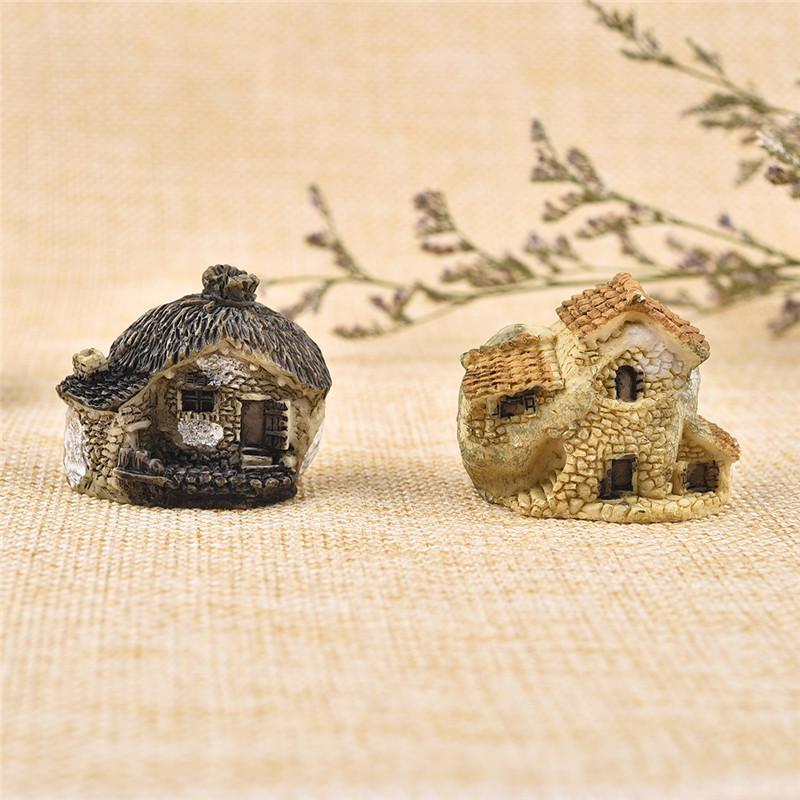 15 Style Mini Small House Cottages DIY Toys Crafts Figure Moss Terrarium Fairy Garden Ornament Landscape Decor Random Color 5