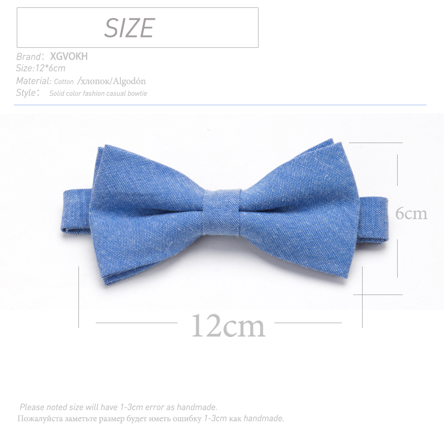 Bowtie 100% Cotton plain dyed Solid Bow Tie Party Accessories Gift Men Adjustable Formal wedding Butterfly Necktie 1