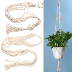 Vintage Knotted Plant Hanger Basket Green Flowerpot Macrame Lifting Rope Plant Hanger Pot Holder Garden Hanging Flower Display 1