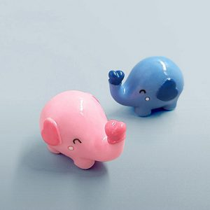 2pc/lot Elephant miniature Bonsai figurine Pink Blue decoration mini fairy garden animals statue toy gift resin craft 1