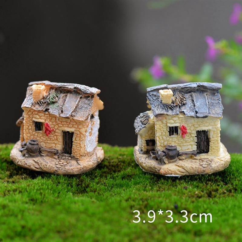 15 Style Mini Small House Cottages DIY Toys Crafts Figure Moss Terrarium Fairy Garden Ornament Landscape Decor Random Color 1