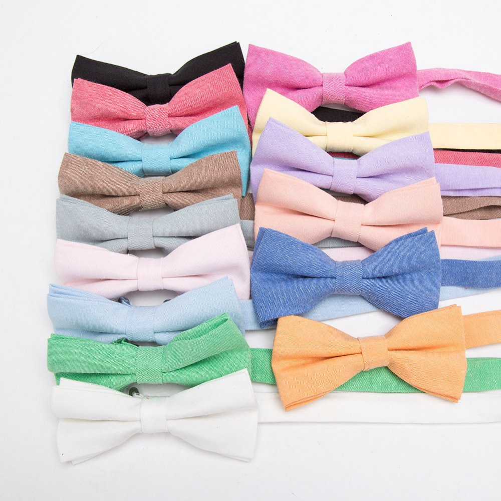 Bowtie 100% Cotton plain dyed Solid Bow Tie Party Accessories Gift Men Adjustable Formal wedding Butterfly Necktie 5