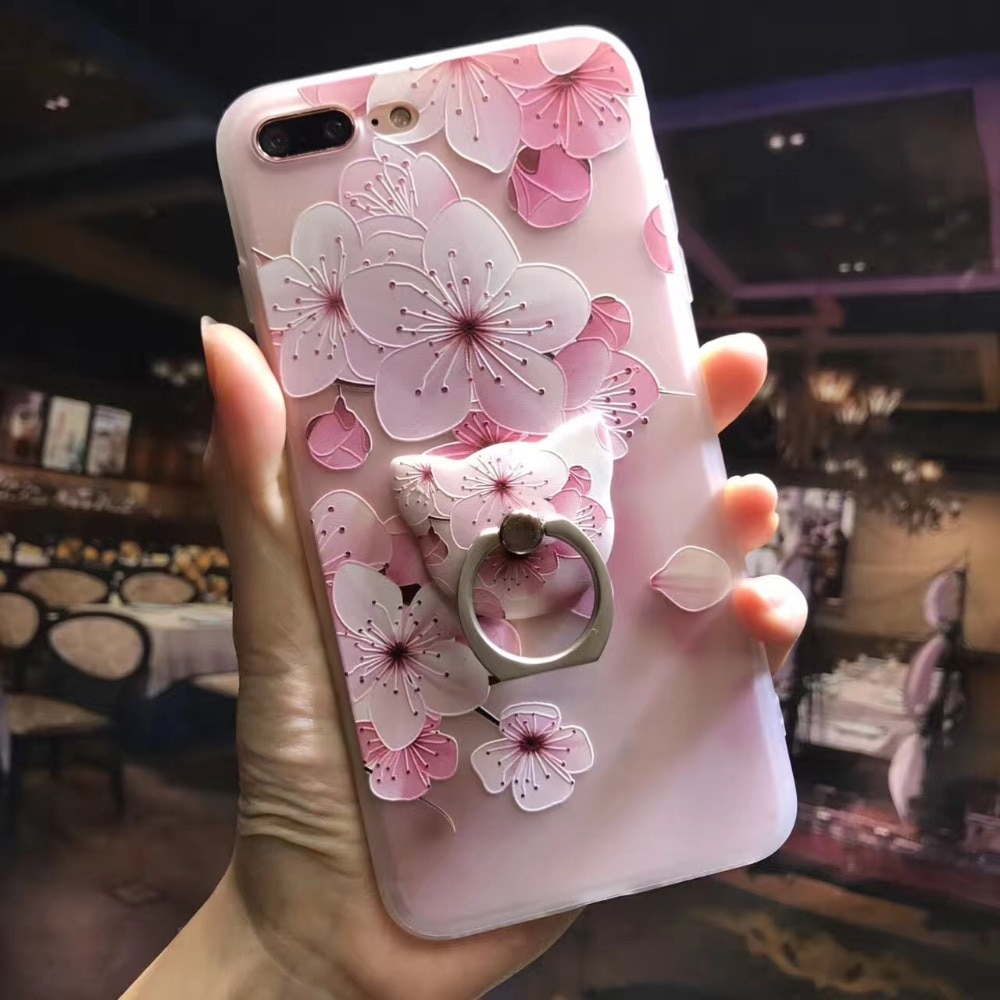 Phone Case Ring Holder Cat Ring Grip Iphone Holder Flower Pattern
